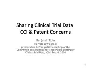 Sharing Clinical Trial Data: CCI & Patent Concerns