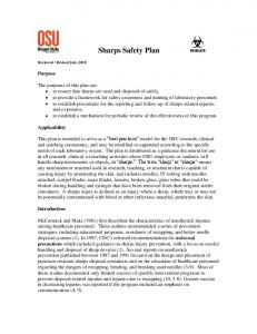 Sharps Safety Plan. Purpose