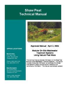 Shaw Peat Technical Manual