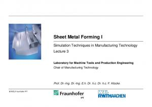 Sheet Metal Forming I