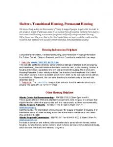 Shelters, Transitional Housing, Permanent Housing