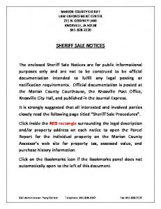 SHERIFF SALE NOTICES