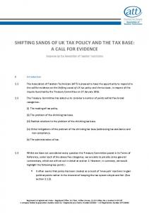 SHIFTING SANDS OF UK TAX POLICY AND THE TAX BASE: A CALL FOR EVIDENCE