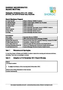 SHOROC INCORPORATED BOARD MEETING