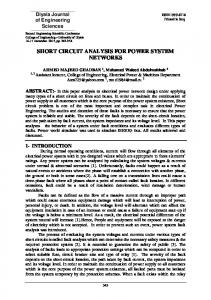 SHORT CIRCUIT ANALYSIS FOR POWER SYSTEM NETWORKS