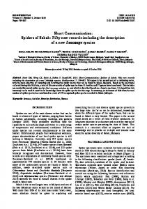 Short Communication: Spiders of Sabah: Fifty new records including the description of a new Leucauge species