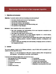 Short course: Introduction to Sign Language Linguistics