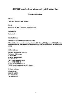 SHORT curriculum vitae and publication list