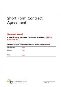 Short Form Contract Agreement