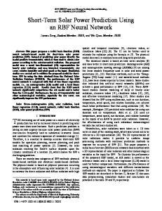 Short-Term Solar Power Prediction Using an RBF Neural Network