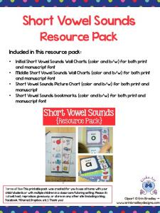 Short Vowel Sounds. Resource Pack. Included in this resource pack: