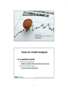 Shortcuts to Accrual. Tools for Credit Analysis