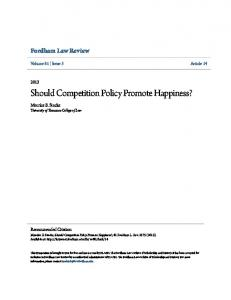 Should Competition Policy Promote Happiness?