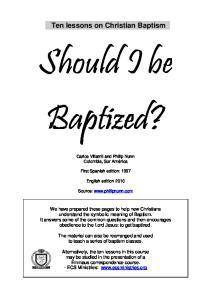 Should I be Baptized