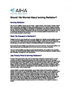 Should I Be Worried About Ionizing Radiation?