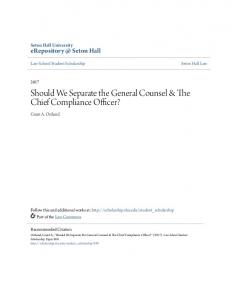 Should We Separate the General Counsel & The Chief Compliance Officer?