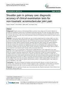 Shoulder pain in primary care: diagnostic accuracy of clinical examination tests for non-traumatic acromioclavicular joint pain