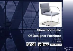 Showroom Sale Of Designer Furniture. March 2012 London