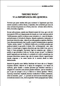 SHUNKU WATA Y LA IMPORTANCIA DEL QUECHUA