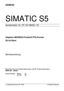 SI. Adaption MODBUS Protokoll RTU-Format S5 ist Slave. Betriebsanleitung