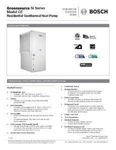 Si Series Model CE Residential Geothermal Heat Pump