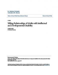 Sibling Relationships of Adults with Intellectual and Developmental Disability