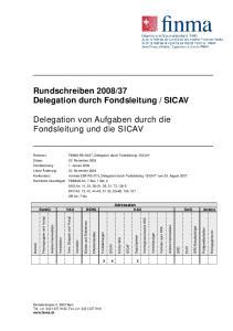 SICAV. Delegation von Aufgaben durch die Fondsleitung und die SICAV