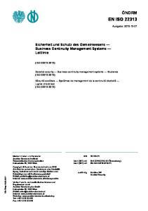 Sicherheit und Schutz des Gemeinwesens Business Continuity Management Systems Leitlinie