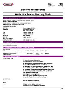 Sicherheitsdatenblatt. W Power Steering Flush