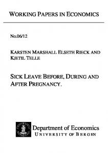 SICK LEAVE BEFORE, DURING AND AFTER PREGNANCY