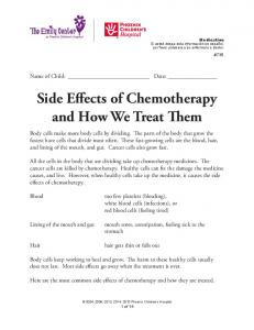 Side Effects of Chemotherapy and How We Treat Them