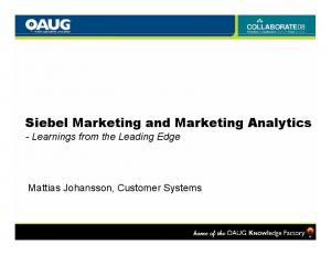 Siebel Marketing and Marketing Analytics