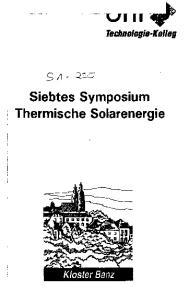 Siebtes Symposium Thermische Solarenergie