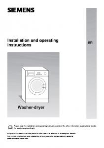 SIEMENS. Installation and operating instructions. Washer-dryer