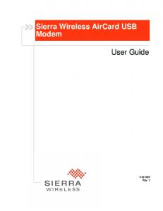 Sierra Wireless AirCard USB Modem. User Guide Rev. 7