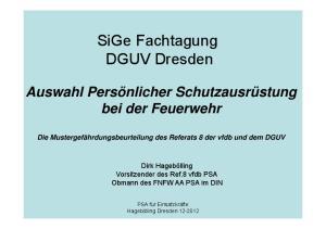 SiGe Fachtagung DGUV Dresden