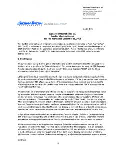 SigmaTron International, Inc. Conflict Minerals Report For The Year Ended December 31, 2014
