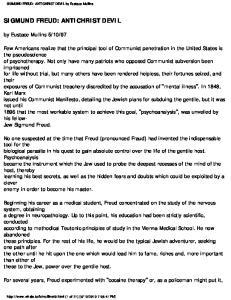 SIGMUND FREUD: ANTICHRIST DEVIL