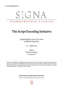 SIGNA. The Script Encoding Initiative. Original English version of the article published in Signa Nr April 2004