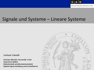 Signale und Systeme Lineare Systeme