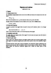 Signals and cables. Measurement Laboratory 2. (BME-MIT, P. Sz.) 1. Theory 1.1 Measurement errors