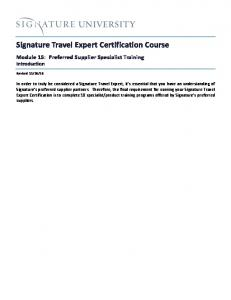 Signature Travel Expert Certification Course