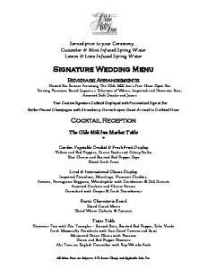 Signature Wedding Menu