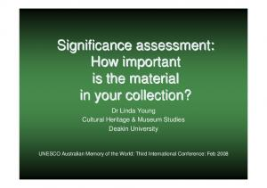 Significance assessment: How important is the material in your collection?