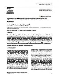 Significance of Probiotics and Prebiotics in Health and Nutrition