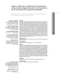 Signos, síntomas y alteraciones posturales en pacientes diagnosticados con trastornos de la articulación temporomandibular
