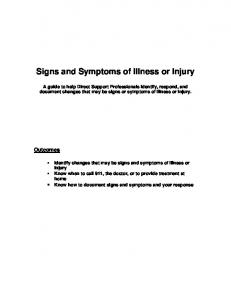 Signs and Symptoms of Illness or Injury