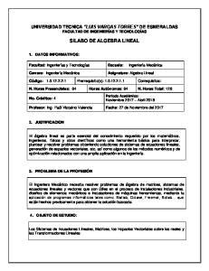 SILABO DE ALGEBRA LINEAL