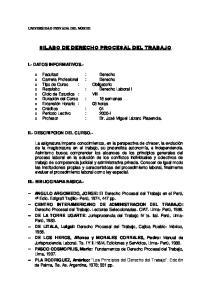 SILABO DE DERECHO PROCESAL DEL TRABAJO