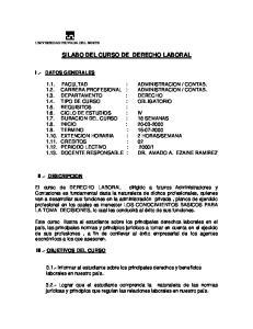 SILABO DEL CURSO DE DERECHO LABORAL